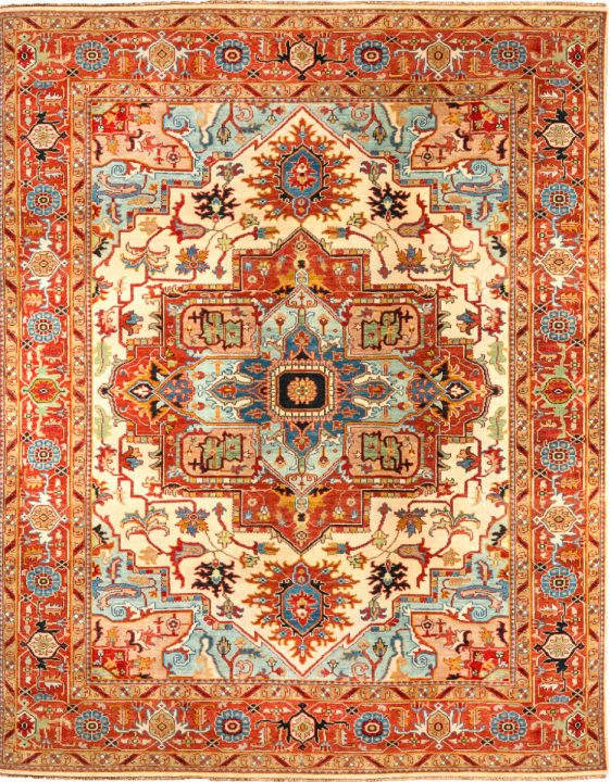Hand Knotted 6/45 Heris-2 Red/Blue 10.24 m2